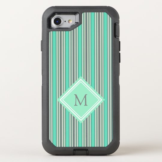Classy Mint and Grey  Vertical  Stripes Monogram OtterBox Defender iPhone 8/7 Case