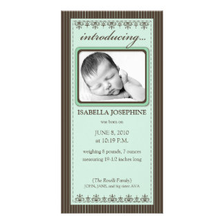 Classy Mint Green Customized Birth Announcement Photo Card