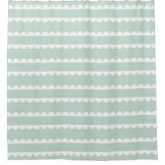 Classy Mint Green & White Lace Striped Pattern