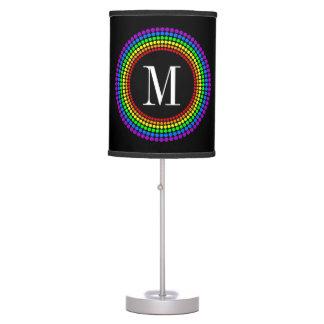 Classy Modern Black Rainbow Dots White Monogram Table Lamp