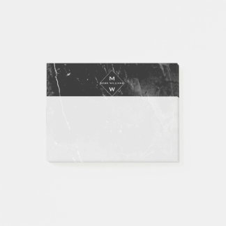 Classy Modern Name Initials Monogram  Black Marble Post-it Notes