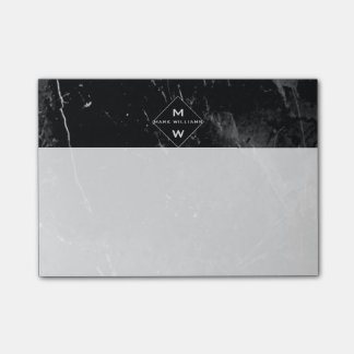 Classy Modern Name Initials Monogram  Black Marble Post-it® Notes