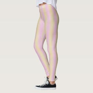 Classy Modern Pink Yellow Vertical Striped Pattern Leggings