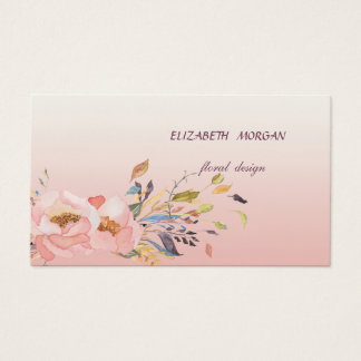 Classy Modern  Romantic Watercolor Floral Business Card