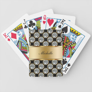 Classy Monogram Bling Playing Cards
