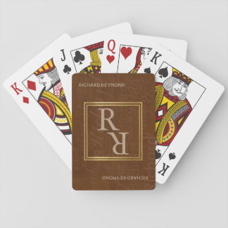 classy monogram brown playing cards