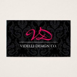 Classy Monogram Damask Business Card