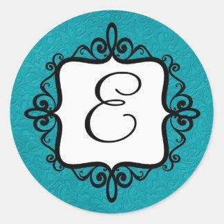 Classy Monogram Envelope Seal Round Sticker
