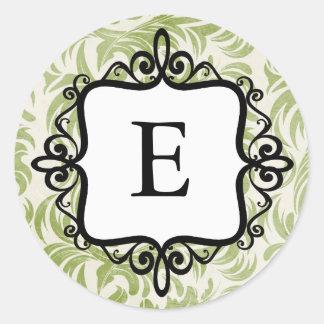 Classy Monogram Envelope Seal Classic Round Sticker