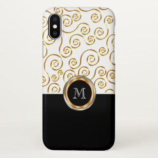 Classy Monogram Gold Colored Pattern iPhone X Case