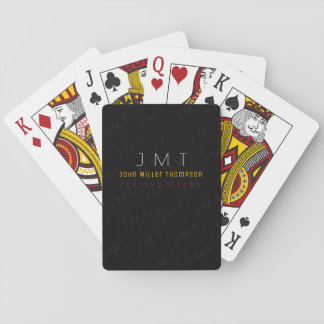 classy monogram on black poker deck