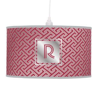 Classy Monogram Red Silver Interlocking Pattern Pendant Lamp