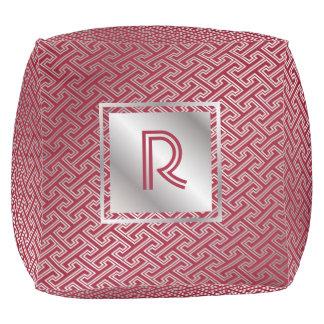 Classy Monogram Red Silver Interlocking Pattern Pouf