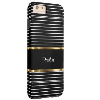Classy Monogram Stripes Pattern Tough iPhone 6 Plus Case
