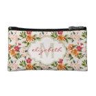 Classy Monogram Vintage Victorian Floral Flowers Makeup Bag