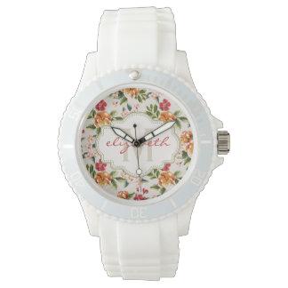 Classy Monogram Vintage Victorian Floral Flowers Wrist Watch