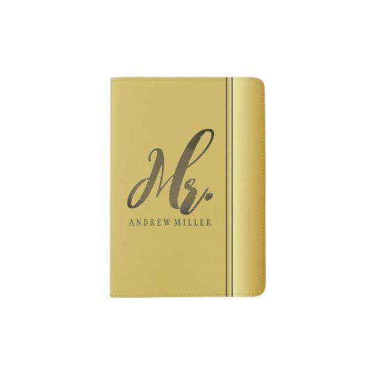 Classy Mr. Gold Typography Personalized Passport Holder