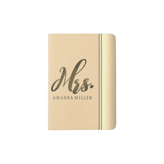 Classy Mrs. Rosy Gold Typography Personalized Passport Holder