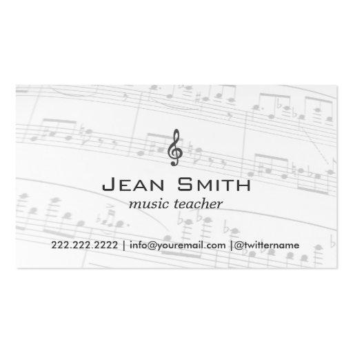 Classy Music Notes Music Teacher Business Card