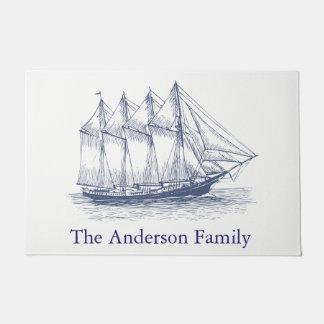 Classy Nautical Ship Schooner Family Name Doormat