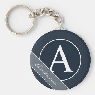 Classy Navy Blue Custom Monogram Keychain