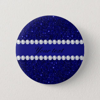 Classy Navy Sequins and Diamonds Personalized 2 Inch Round Button