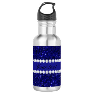 Classy Navy Sequins and Diamonds Personalized 532 Ml Water Bottle