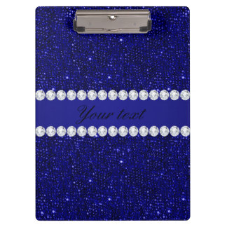 Classy Navy Sequins and Diamonds Personalized Clipboard