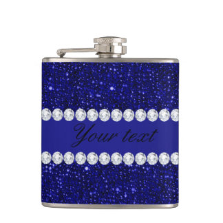 Classy Navy Sequins and Diamonds Personalized Flask