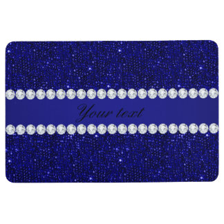 Classy Navy Sequins and Diamonds Personalized Floor Mat