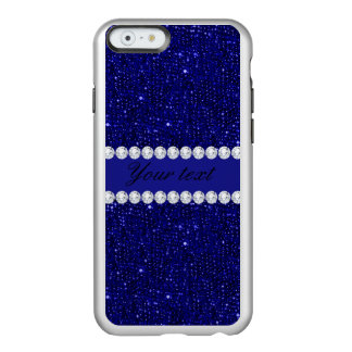 Classy Navy Sequins and Diamonds Personalized Incipio Feather® Shine iPhone 6 Case