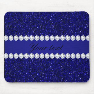 Classy Navy Sequins and Diamonds Personalized Mouse Pad