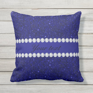 Classy Navy Sequins and Diamonds Personalized Outdoor Pillow