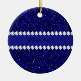 Classy Navy Sequins and Diamonds Personalized Round Ceramic Ornament