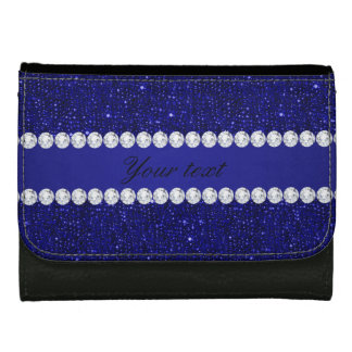 Classy Navy Sequins and Diamonds Personalized Wallets