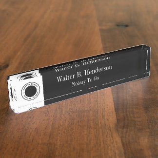 Classy Notary Public Staff Desk Plaque Nameplates
