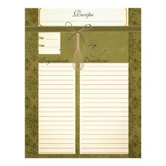 Classy Olive Green Recipe Inserts Letterhead Design