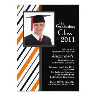 Classy Orange Stripe Photo Graduation Invitation