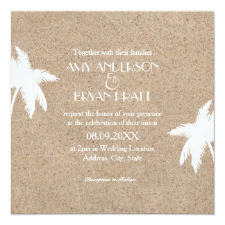 Classy Palm Tree Beach Wedding Invitation