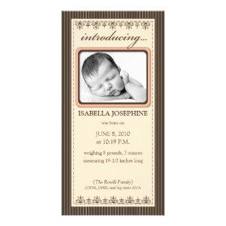 Classy Peach Customized Birth Announcement Customized Photo Card