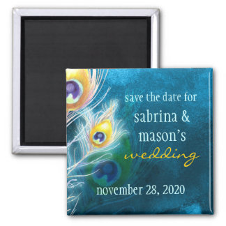 Classy Peacock Blue Wedding Save the Date Magnets