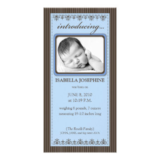 Classy Periwinkle Customized Birth Announcement Custom Photo Card