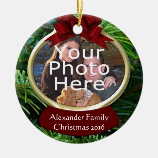 Classy Pine Custom Photo Christmas Ornament