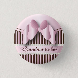 Classy Pink and Brown Stripes 1 Inch Round Button