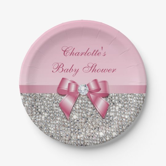 Classy Pink Bow Silver Sequins Baby Shower 7 Inch Paper Plate