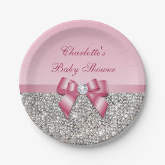 Classy Pink Bow Silver Sequins Baby Shower Paper Plate
