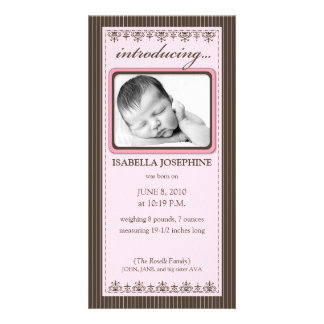 Classy Pink Customized Birth Announcement Picture Card