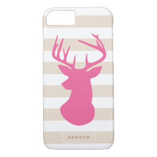 Classy Pink Deer Head Linen Stripes Personalized iPhone 8/7 Case