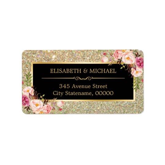 Classy Pink Floral Gold Glitter Sparkling Wedding