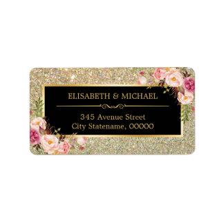 Classy Pink Floral Gold Glitter Sparkling Wedding Label